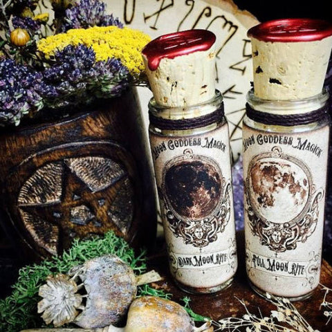Full Moon Incense and Dark Moon Incense~ Set of 2 ~ Lunar Incense ~ Full Moon Magick ~ Dark Moon Magick ~ 1oz glass bottle - Moon Goddess Magick Apothecary