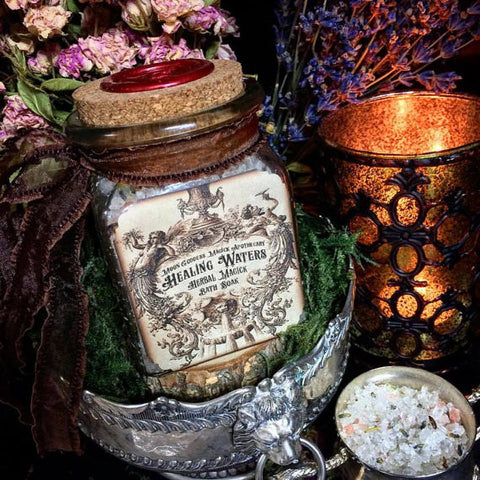 Healing Waters Bath Soak...Relaxing Aromatherapy Bath ~ Healing Magick , Dead Sea Soak Large 8oz ~Water Magick - Moon Goddess Magick Apothecary