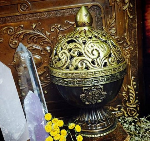 Gorgeous Brass Colored Metal Incense Burner ~ Incense Burner ~ Decorative Incense Burner - Moon Goddess Magick Apothecary