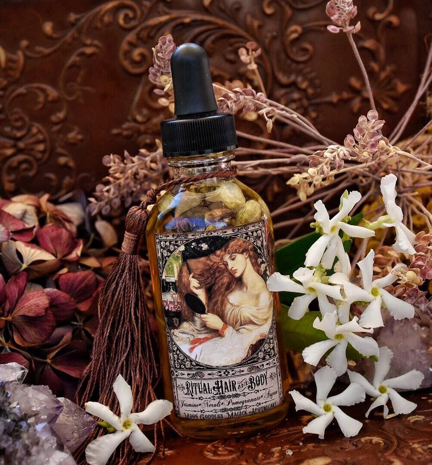 Ritual Hair and Body Oil~ Jasmine and Neroli~ Ancient Beauty Secrets~ Daily  Beauty Ritual~ Huge 2oz Bottle with Dropper~ Beauty Oil