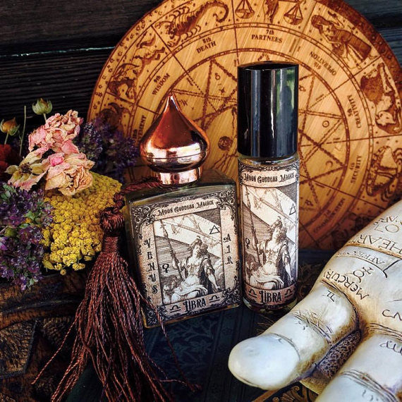 Libra Essential Oil Blend...September 23 - October 23~ Diplomatic~ Charming~Graceful~ Peaceful~ Ylang Ylang~ Rose~ Geranium ~1/3oz Roll on - Moon Goddess Magick Apothecary