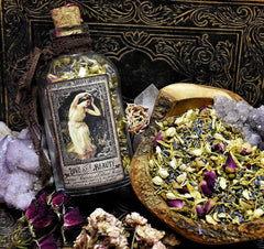 Love and Beauty Botanical Hair Rinse~ Loose Herbs~ Nourish your hair with the gifts of Nature~ 8oz Jar with Pentagram Wax Seal~ Hair Tea - Moon Goddess Magick Apothecary