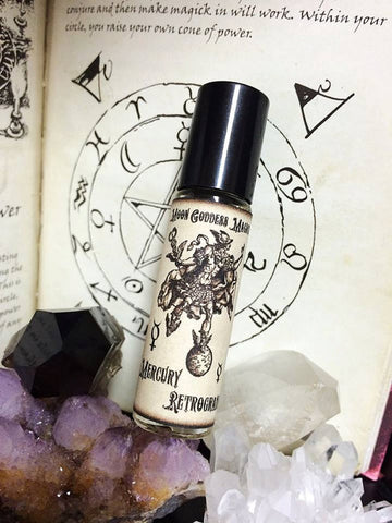 Mercury Retrograte Relief Oil~ Planetary Magick~ Hour of Mercury~ Retrograde Defense~ Moon Goddess Magick ~1/3 oz Aromatherapy Roll on - Moon Goddess Magick Apothecary