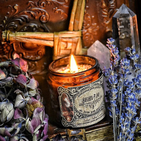 Brighid's Flame ~ Imbolc Candle ~ Honor Brighid and her Sacred Flame~ Crystal Charged with Sunstone ~ 40 hour burn~ 4oz Candle - Moon Goddess Magick Apothecary