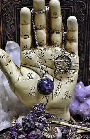 Amethyst Pendulum~ Dowsing Tool ~ Divination Tool ~ Crystal Pendulum with Pentacle Charm ~ Intuition - Moon Goddess Magick Apothecary