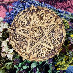 Celtic Pentacle ~ Wall Plaque ~Altar Adornment~ High Quality Wood Colored Resin ~ Carved in Anglo-Saxon style~ - Moon Goddess Magick Apothecary