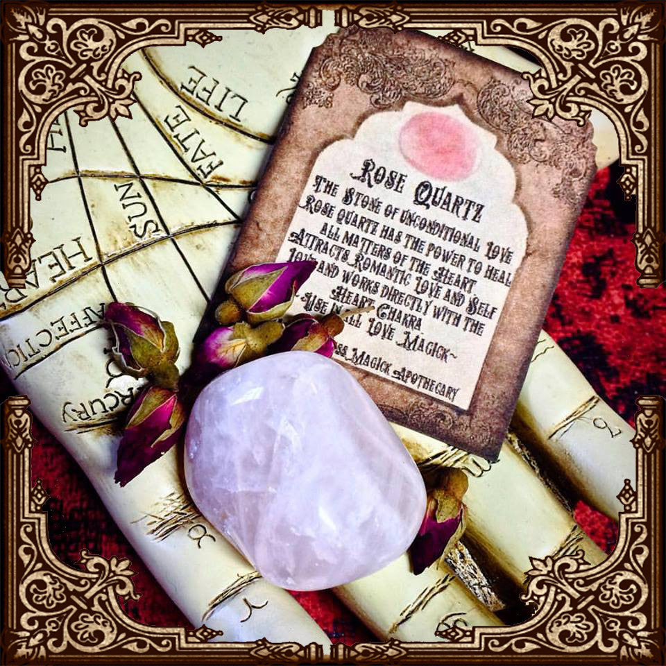 Rose Quartz Palm Stone~ Heart Healing ~ Love Magick ~ Self Love ~ Unconditional Love ~ Love Energy ~ Heart Stone ~ 1 Stone with Card - Moon Goddess Magick Apothecary
