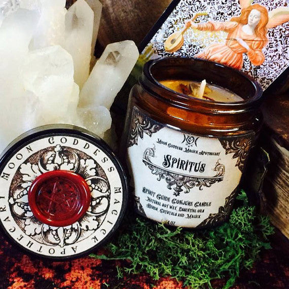 Spiritus ~ Spirit Guide Conjure Candle~ Spell Candle with Invocation~ Contact your Spirit Guide~ Ancient Wisdom and Guidance - Moon Goddess Magick Apothecary