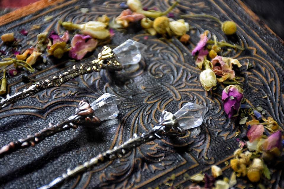 Floral Teaspoon with faux Crystal top~ Listing is for 1 spoon of your color choosing~ Tea Party ~ Witches Tea Time~ Gatherings~ Witch Spoon - Moon Goddess Magick Apothecary