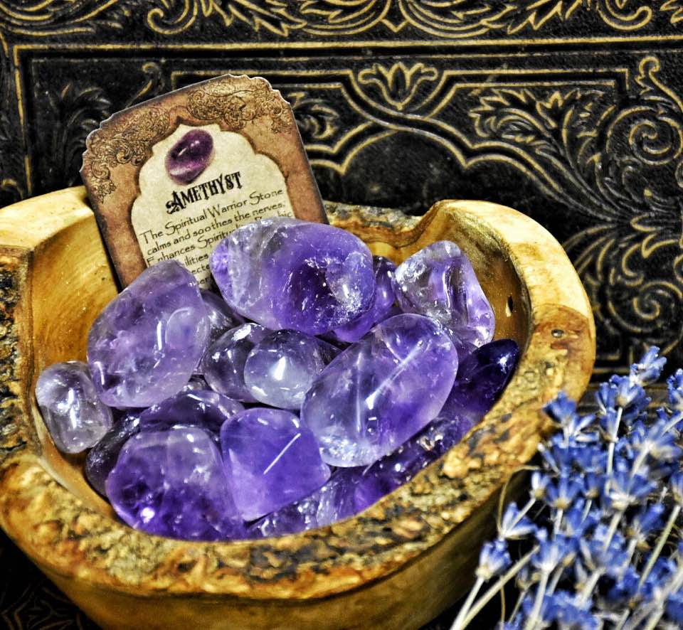 Amethyst Stones~ 2 Tumbled Stones ~ Pocket stones ~ Stone of Spiritual Metamorphosis ~ Divination ~ Crown Chakra - Moon Goddess Magick Apothecary