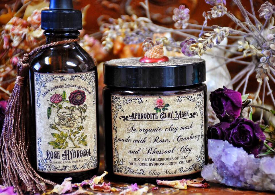 Aphrodite Clay Mask~ Oragnic Beauty Mask~ Rose ~ Cranberry ~ Rhassoul Clay ~ 4oz Comes with 2oz Organic Rose Hydrosol ~ Love and Beauty - Moon Goddess Magick Apothecary