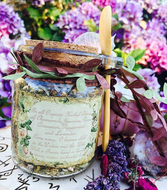 Faerie Tea ~ Fairy Tea ~ 8.5oz Jar w/ Spoon~ Organic Herbal Tea ~ Caffeine Free~ Fairy Magick~ Tea Time for Children - Moon Goddess Magick Apothecary