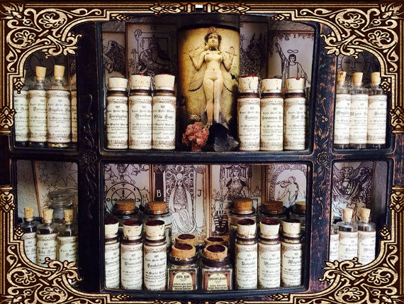 Organic Herbal Witchery  Organic Herbs Set of 12 ~ You choose Pagan Herbs ~  Witchcraft~ Supplies for spells~ 1oz corked jar with Pentagram