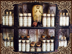 Organic Herbal Witchery..Organic Herbs Set of 12 ~ You choose Pagan Herbs ~ Witchcraft~ Supplies for spells~ 1oz corked jar with Pentagram - Moon Goddess Magick Apothecary