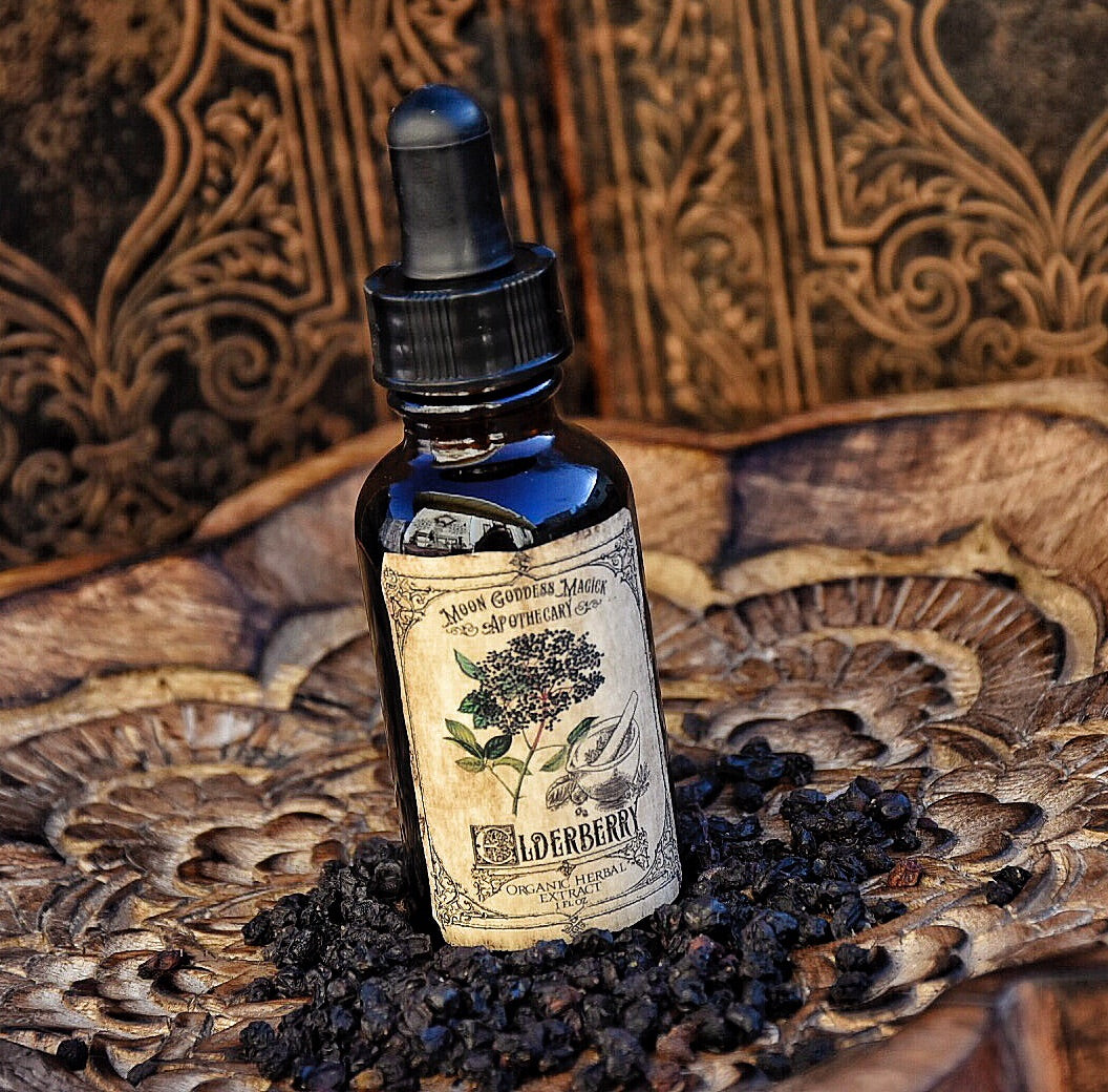 Elderberry Tincture~ Organic Herbal Extract~ Immune Boosting~ Cold and Flu  Folk Remedy~ Elderberry Magick~ 1oz Drpper Bottle