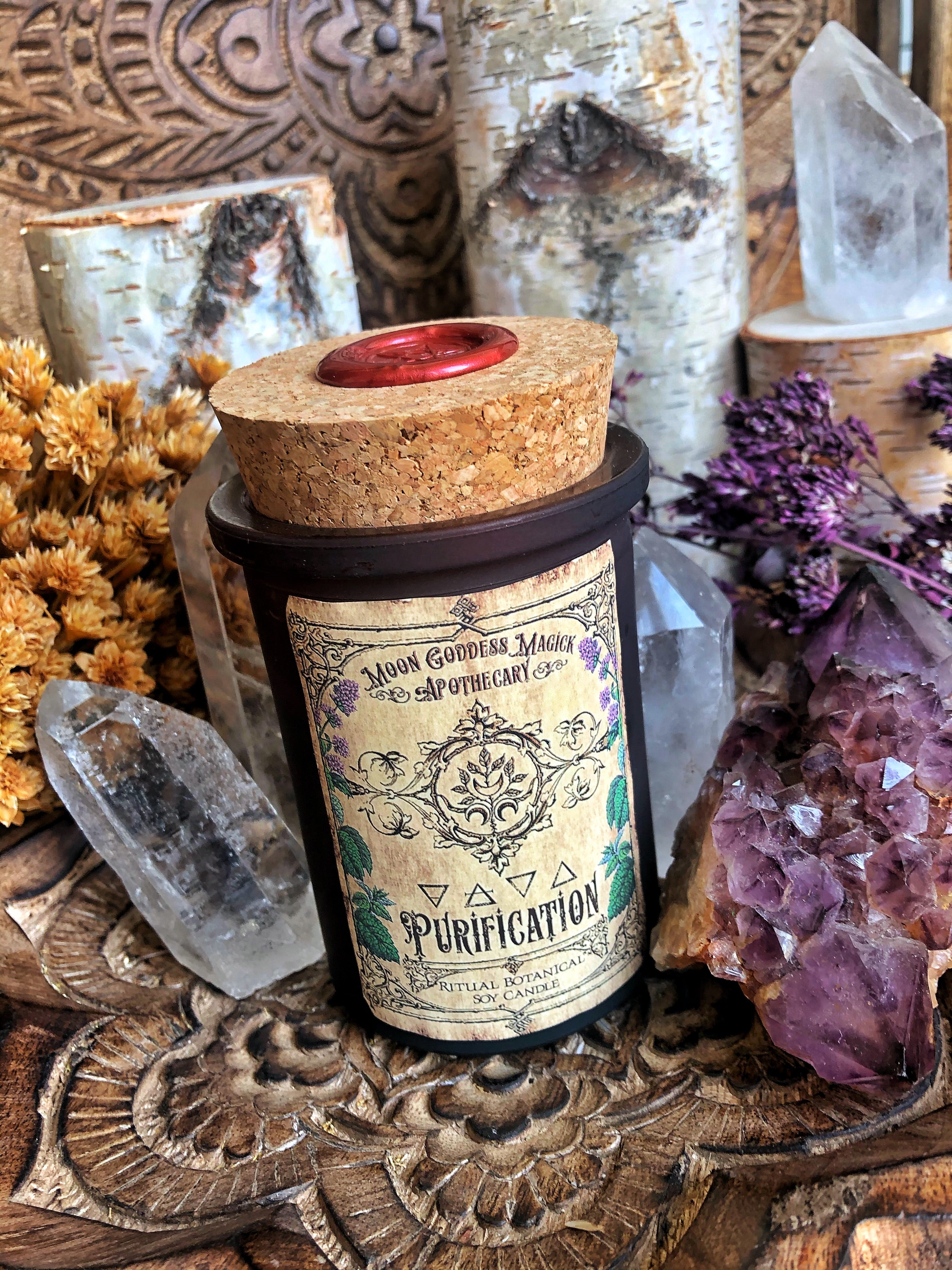 Purification Spell Candle /// Ritual Candle /// Incantation on the back Spell Candle for your Purification Rituals /// Aura Cleanse~ 6oz Amber Glass /// 30 hour burn - Moon Goddess Magick Apothecary