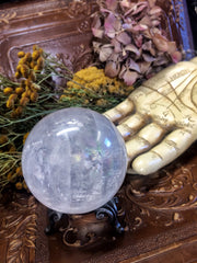 Quartz Crystal Sphere with Rainbow inclusion with beautiful Victorian stand~ Healing stone~ Power stone ~ Magic and Ritual amplifier - Moon Goddess Magick Apothecary