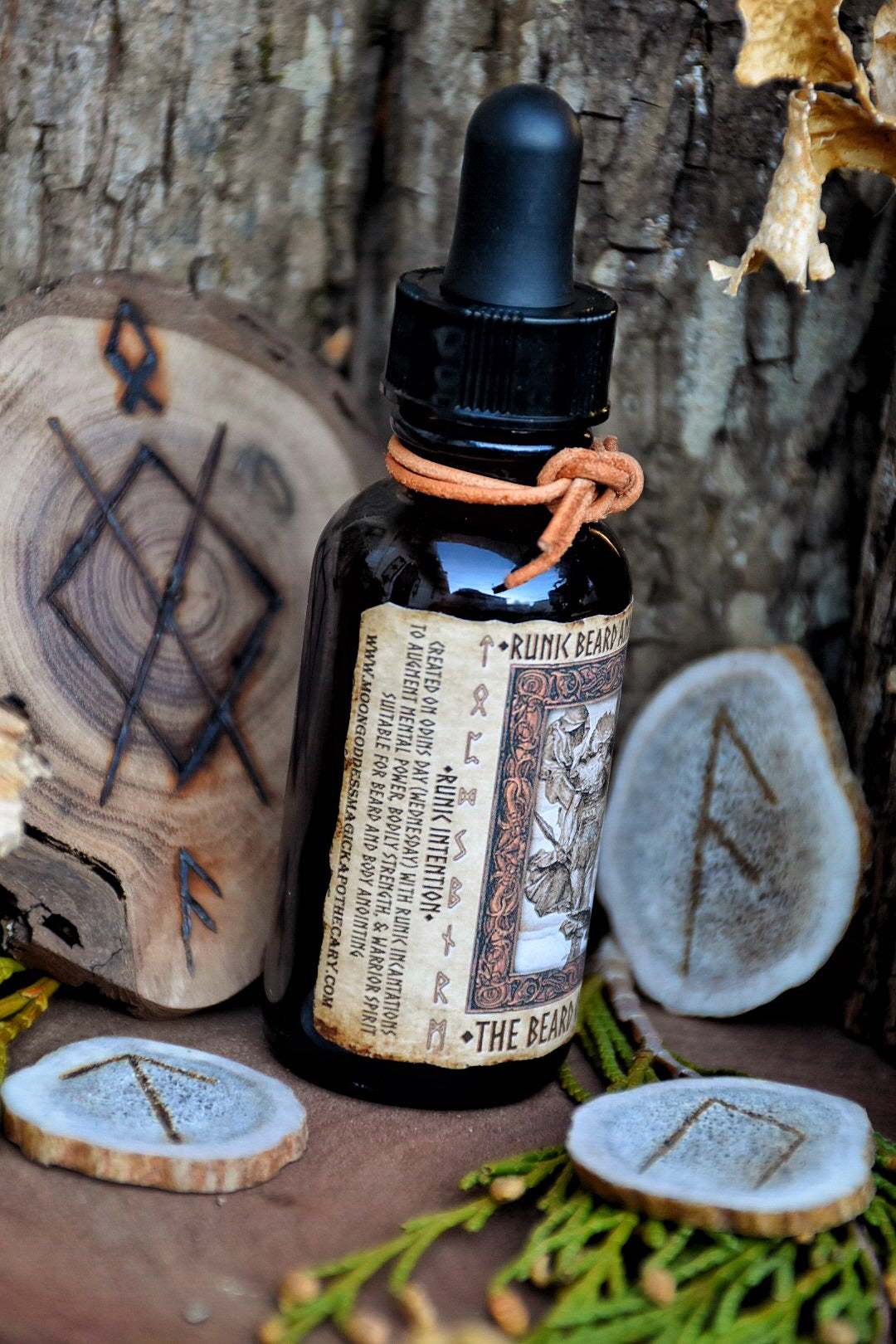 Odin Beard Oil  ~ The Beard of Odin ~ Runic Beard Oil ~ Nourishing Beard and Body Oil ~ 1oz with dropper - Moon Goddess Magick Apothecary