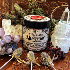 Meditation Candle ~ WitchCrafted and Blessed by the Moon ~ Blue Lotus ~ Frankincense~ Meditation ~ Spiritual Journey ~ 4oz ~30 hour - Moon Goddess Magick Apothecary