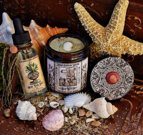 Sea Witch Organic Clay Mask and Aloe Vera Juice Set~ Anti-Aging ~ Vitiman & Mineral Rich ~ Vibrant Glowing Skin~ Reduce Fine Lines ~ Skin Nourishing - Moon Goddess Magick Apothecary