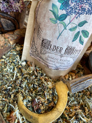 The Elder Witch Tea~ Organic Cold and Flu Tea for the Winter Months ~ Elderberry Tea ~ Elderflower Tea~ Lady Ellhorn~ Winter Tea ~ Makes up to 15 cups of Tea