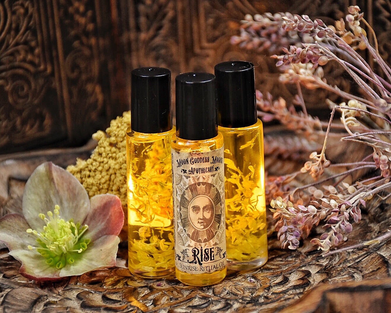 Rise and Rest /// Organic Essential Oil Blend for Sunrise and Sunset Body Blessing and Anointment for Daily Use /// 2 - 10ml Roll on Bottles - Moon Goddess Magick Apothecary