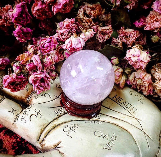 Rose Quartz Polished Crystal Ball with Stand~ 35mm charming little size~Heart Healing~ Positive Loving Energy~Crystal Sphere~ Wood Stand - Moon Goddess Magick Apothecary