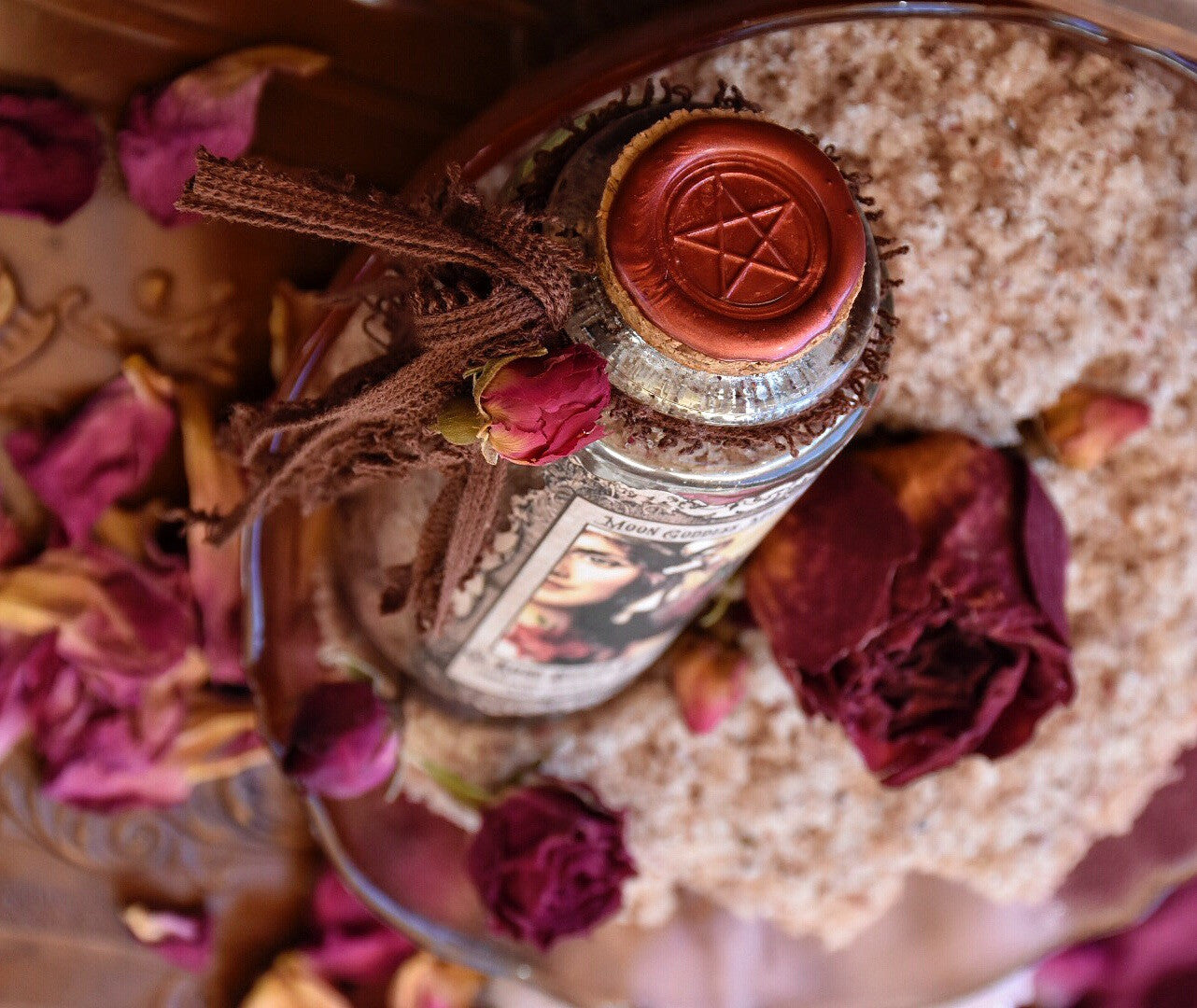 Rose Sugar Scrub ~ Organic Sugar Scrub~ Vegan ~ Inner Beauty ~ Moon Goddess Magick 3.4oz Glass Bottle ~ - Moon Goddess Magick Apothecary