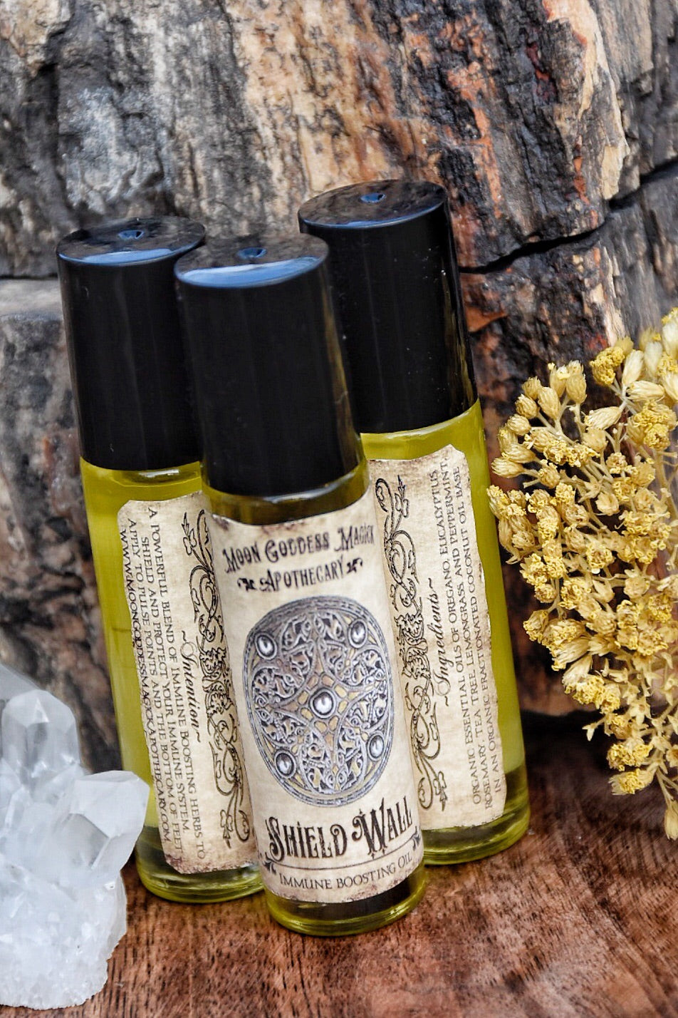 Shield Wall /// Organic Immune Boosting Essential Oil Blend /// Protection Oil /// 1/3oz Roll on Bottle - Moon Goddess Magick Apothecary