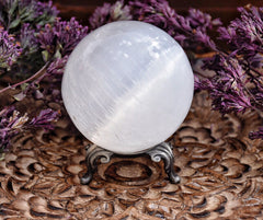 Selenite Sphere /// Moon Magick /// Selene /// With Metal Stand - Moon Goddess Magick Apothecary