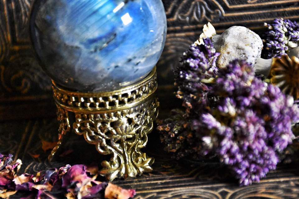 Labradorite Sphere~ Comes with Beautiful Metal Stand ~ Heighten Intuition~Healing Crystal~ - Moon Goddess Magick Apothecary