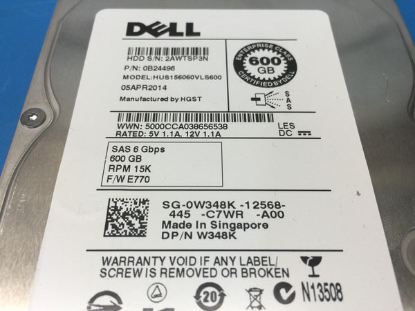 "Dell 600GB SAS 6Gbps 15K 3.5"" (W348K) Replacement HDD w/ Caddy"