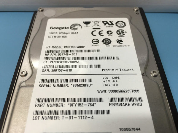 "HP 160GB SATA 7.2K 2.5"" 530932-001 530888-B21 507749-002 9FY152-784 HDD w/ Caddy"