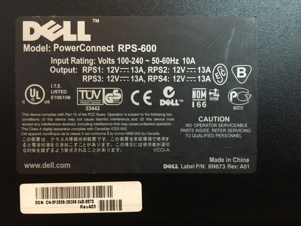 Dell PowerConnect RPS-600 Redundant Power Supply