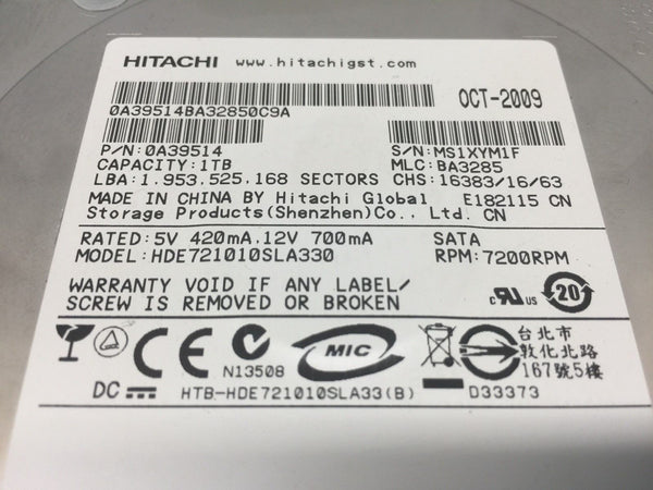 "Hitachi 1TB SATA 7200RPM 3.5"" 0A39514 HDE721010SLA330 Replacement HDD"