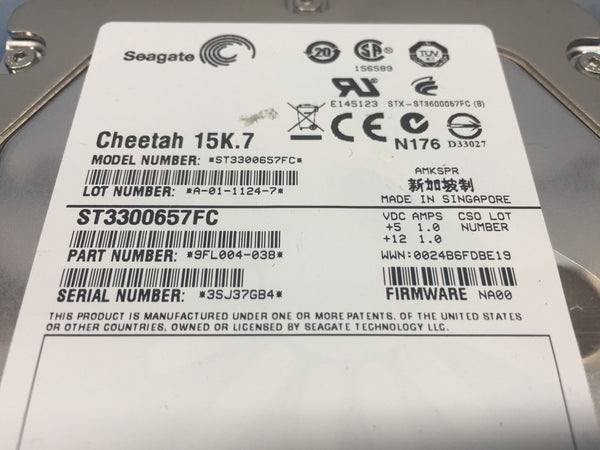 "Seagate Cheetah 300GB Fibre Channel 15K 3.5"" 9FL004-038 ST3300657FC HDD"