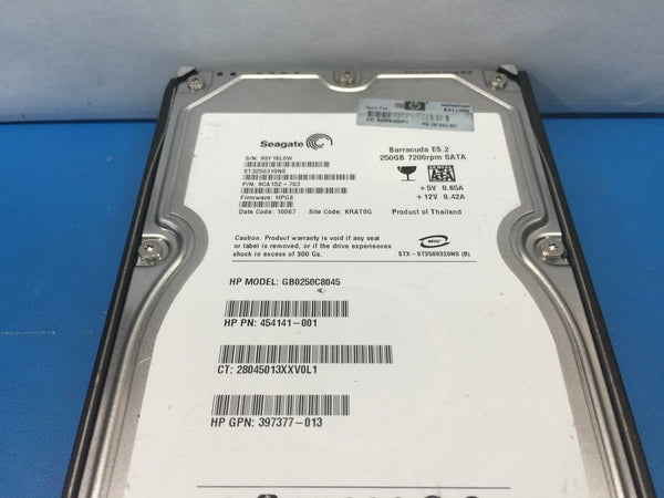 "HP 250GB SATA 7200RPM 3.5"" ST3250310NS 349239-B21 397553-001 454141-001 w/ Caddy"