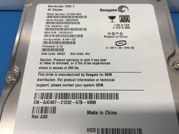 "Dell Seagate 40GB SATA 7200RPM 3.5"" (JC407) ST340014AS 9W2015-633 HDD"
