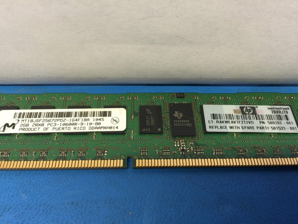 Micron MT18JSF25672PDZ-1G4F1BA HP 500202-061 500656-B21 (2GB 2Rx8 PC3-10600R)