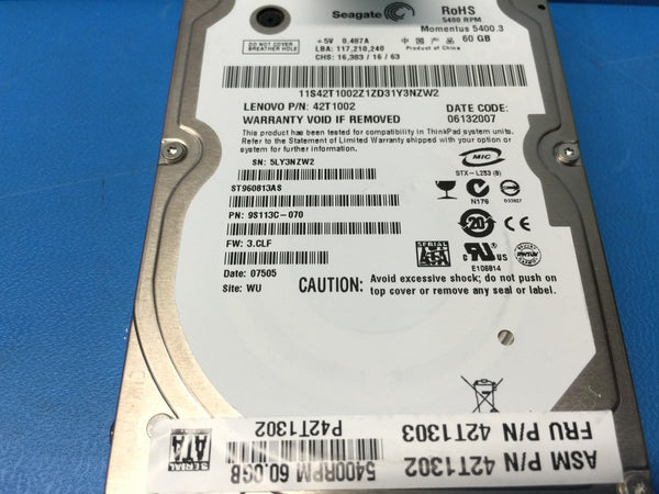 "Lenovo 60GB 5400RPM 2.5"" 42T1002 ST960813A 9S113C-070 Replacement HDD"