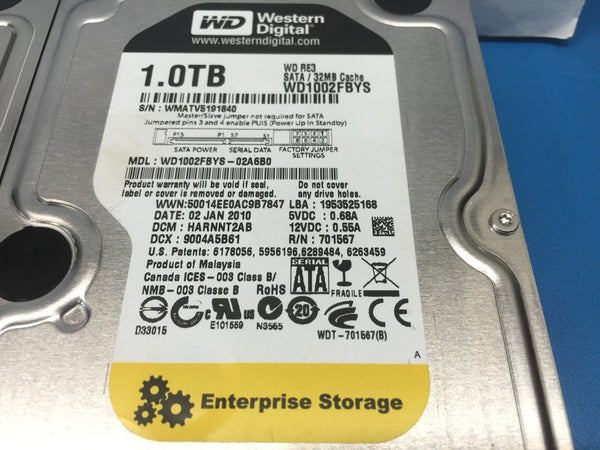 "Western Digital RE3 1TB SATA 7200RPM 3.5"" WD1002FBYS Replacement HDD"