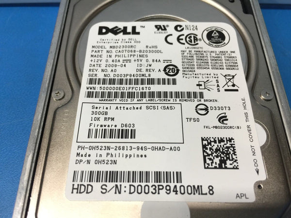 "Dell 300GB SAS 10K 2.5"" (H523N) MBD2300RC Replacement HDD w/ Caddy"
