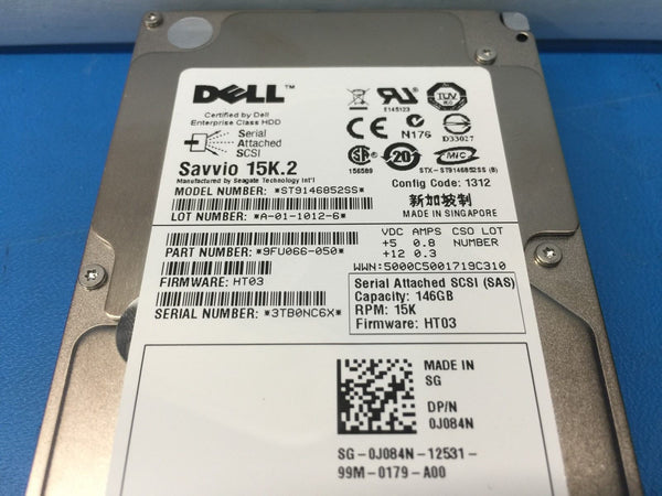 "Dell Savvio 146GB SAS 15K 2.5"" (J084N) ST9146852SS 9FU066-050 Replacement HDD"