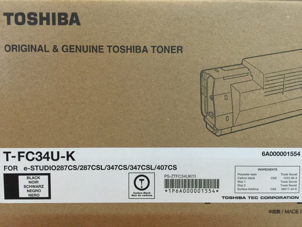 Genuine Toshiba T-FC34U-K Black Toner Cartridge eStudio287CS/287CSL/347CSL/407CS