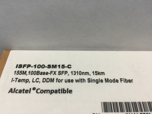iSFP-100-SM15-C 155M 100Base-FX SFP 1310nm 15km Alcatel Compatible *NEW*