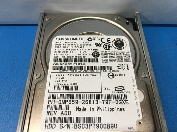 "Dell Fujitsu 146GB SAS 10K 2.5"" (NP659) MBB2147RC Replacement HDD w/ Caddy"