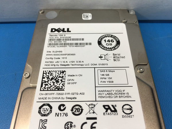 "Dell Savvio 146GB SAS 15K 2.5"" (61XPF) ST9146853SS 9SV066-150 Replacement HDD"