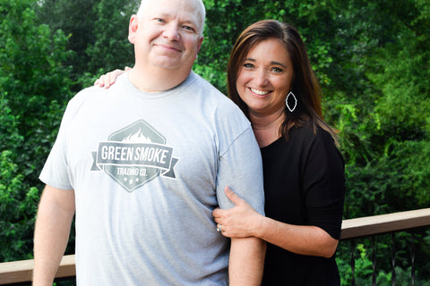 Tony and Laura of Green Smoke Trading - shirts for grillers, smokers and outdoor cooks