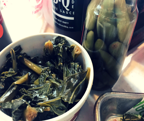 Fox Brothers Bar-B-Q Collard Greens and BBQ Sauce