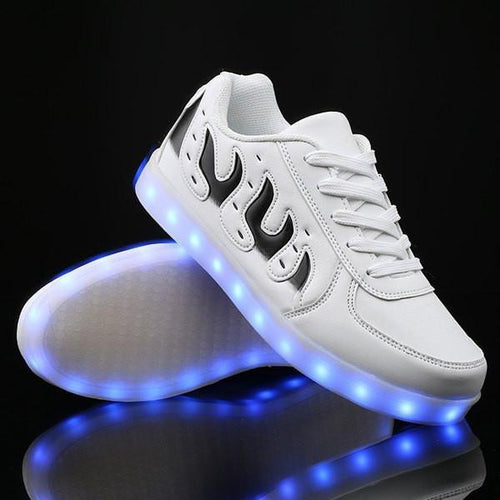 Flashez White Flakes Low Top LED Shoes